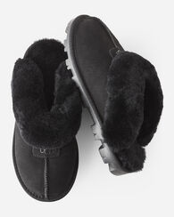 COQUETTE SHEEPSKIN-LINED SCUFF SLIPPERS, BLACK, large