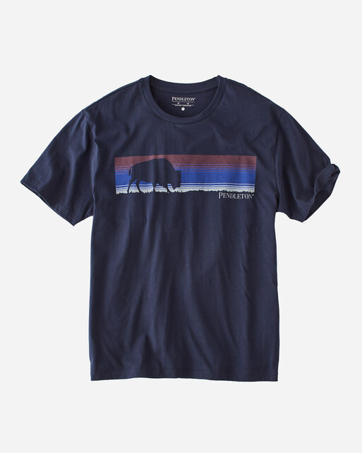BUFFALO STRIPE TEE IN NAVY/ANTIQUE WHITE