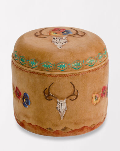 DEER SKULL AND POPPIES OTTOMAN IN BUTTERSCOTCH