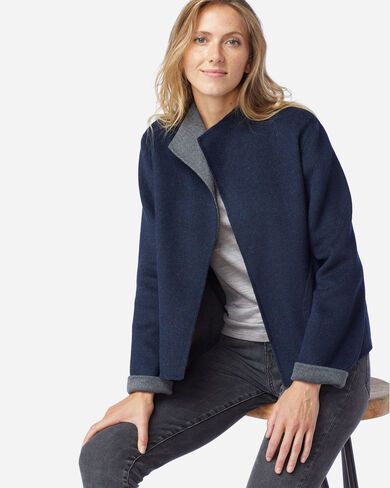 WOMEN'S DOUBLE FACE SHORT JACKET IN NAVY/GREY HEATHER