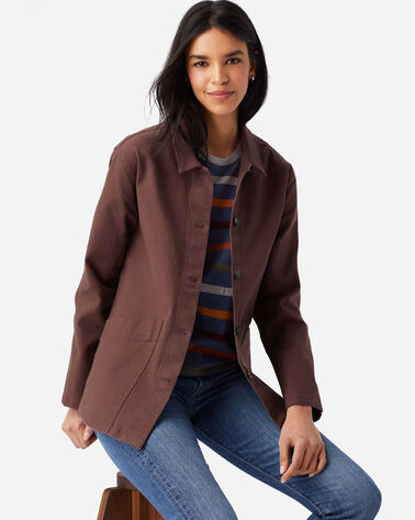 WOMENS CANVAS CHORE JACKET IN RUSTIC PLUM