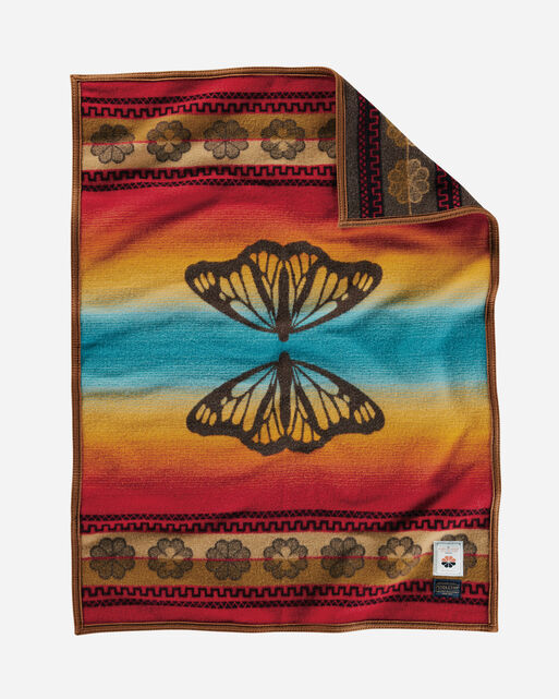 BUTTERFLY CRIB BLANKET, BROWN, large