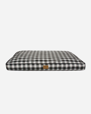 X-LARGE PLAID DOG BED IN CHARCOAL OMBRE