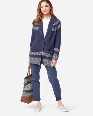 ALTERNATE VIEW OF WOMEN'S INDIGO DIAMOND CARDIGAN IN INDIGO/IVORY
