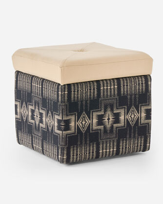 FANNIE KAY STORAGE OTTOMAN IN HARDING BLACK/BUCKSKIN