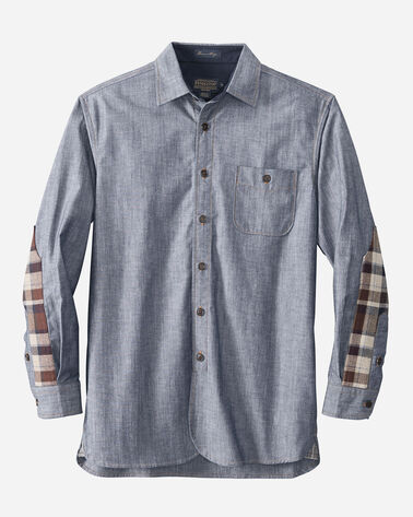 DENIM/WOOL FUSION SHIRT, LIGHT INDIGO, large
