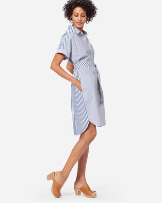 ADDITIONAL VIEW OF SHORT-SLEEVE BOYFRIEND TWO STRIPE DRESS IN BLUE/WHITE