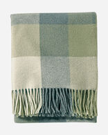 ECO-WISE WOOL FRINGED THROW IN SHALE/SAGE