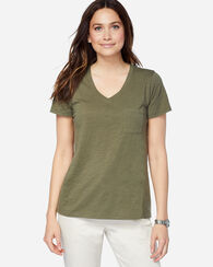V-NECK POCKET TEE, DILL, large