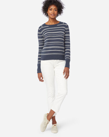 WOMEN'S TEXTURED STRIPE SWEATER IN ANTIQUE WHITE/GREY