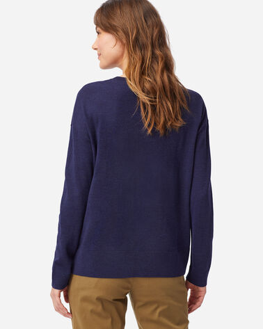 ALTERNATE VIEW OF WOMEN'S TIMELESS MERINO CREW SWEATER IN INDIGO HEATHER
