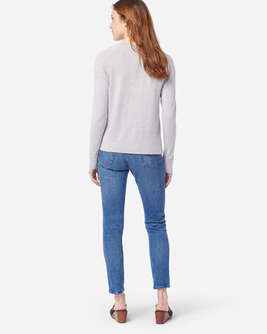 ALTERNATE VIEW OF WOMEN'S TIMELESS MERINO V-NECK SWEATER IN LIGHT GREY HEATHER