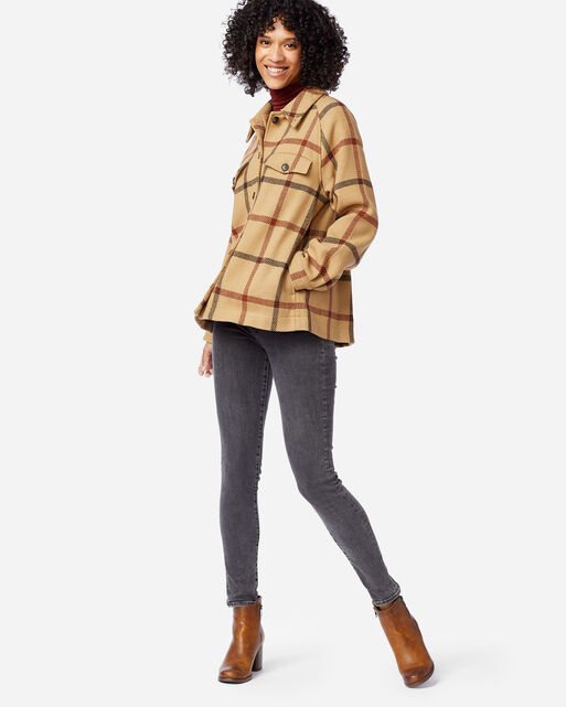 WOMEN'S DAPHNE WOOL JACKET IN TAN WINDOWPANE PLAID