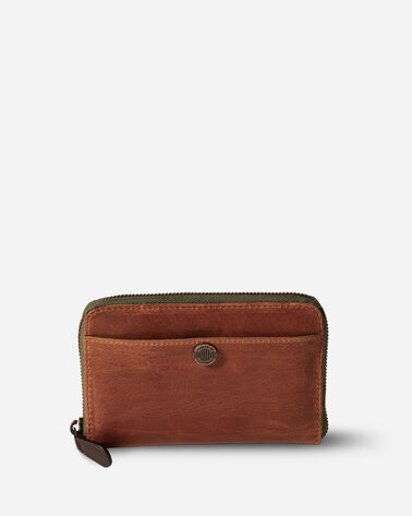 LEATHER ZIP WALLET, TAN, large