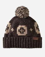 JACQUARD POM POM HAT IN SHELTER BAY BROWN