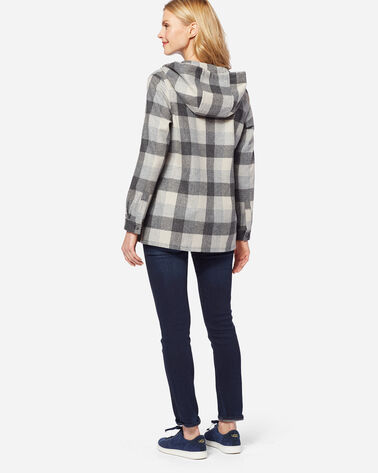 WOOL HOODIE, GREY BUFFALO PLAID, large