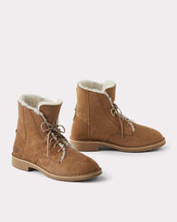 SHEARLING LINED SUEDE QUINCY BOOTS, CHESTNUT, large