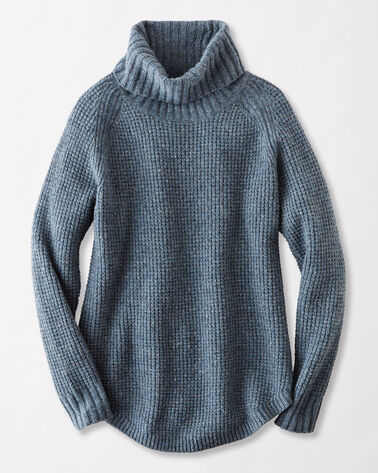 DONEGAL COWL NECK SWEATER, DENIM, large