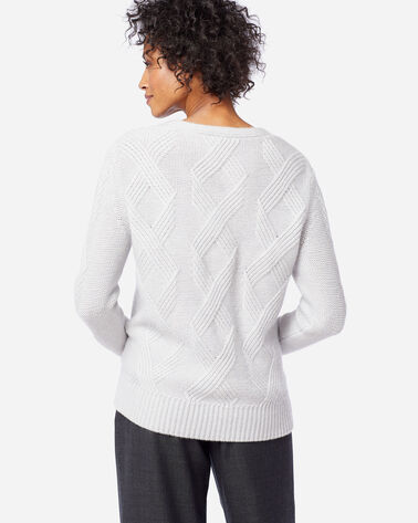 WOMEN'S LUXE CABLE V-NECK SWEATER, PLATINUM, large