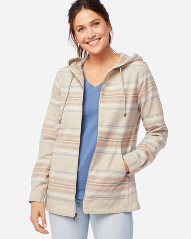 WOMEN'S WOOL ZIP HOODIE IN TAN MIX/PINK STRIPE