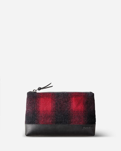 BUFFALO CHECK ZIP POUCH, RED/BLACK OMBRE, large