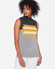 GRAPHIC MERINO SLEEVELESS MOCK NECK