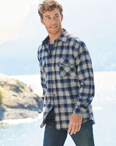 ULTRAFINE MERINO MAVERICK SHIRT, BLUE/GREY MIX PLAID, large