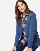 WOMEN'S SHETLAND WASHABLE WOOL CARDIGAN IN BLUE RIBBON HEATHER