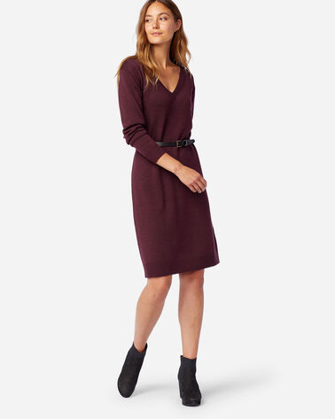 MERINO SWEATER DRESS IN RUSTIC PLUM HEATHER