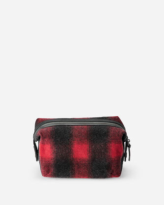 BUFFALO CHECK ESSENTIALS POUCH, RED/BLACK OMBRE, large