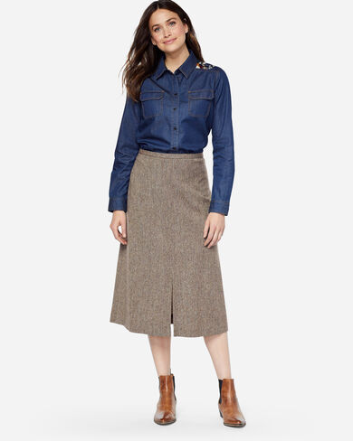 RICHMOND DONEGAL WOOL SKIRT, BROWN MIX, large