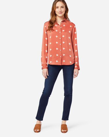 ALTERNATE VIEW OF WOMEN'S SOFT BUTTON SHIRT IN TERRA COTTA PRINT