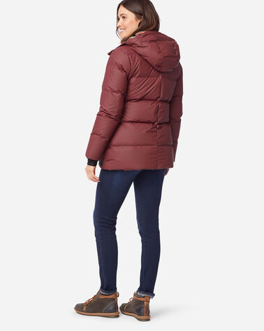 WOMEN'S FAIRBANKS WATERPROOF DOWN HOODED PUFFER, BURGUNDY/ACADIA, large