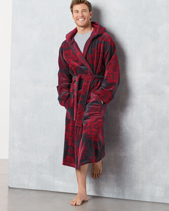 ADDITIONAL VIEW OF MEN'S JACQUARD COTTON TERRY ROBE IN RED