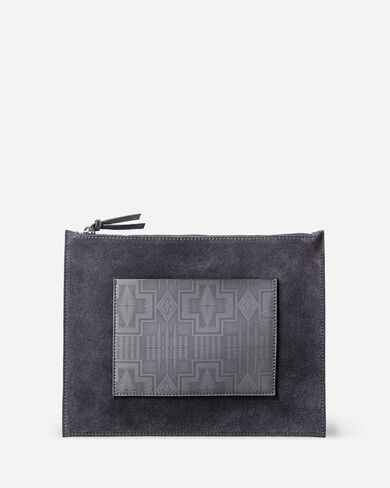 SUEDE ZIP CLUTCH