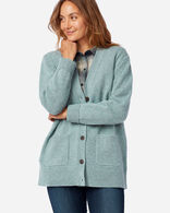 WOMEN'S BOYFRIEND SHETLAND WOOL CARDIGAN IN SEA GLASS BLUE HEATHER
