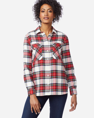 DOUBLE-BRUSHED FLANNEL ELBOW PATCH SHIRT, IVORY STEWART TARTAN, large