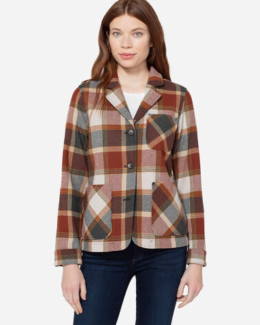 ADDITIONAL VIEW OF MARLOW PLAID WOOL JACKET IN BURGUNDY BLOCK PLAID