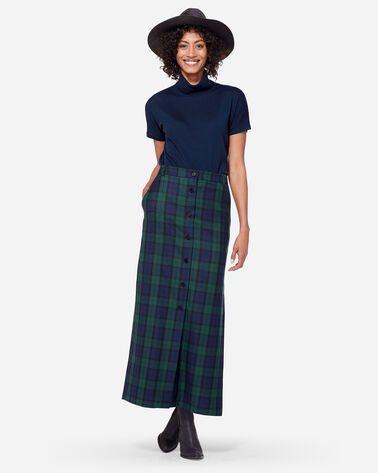 BUTTON-FRONT LONG WOOL SKIRT