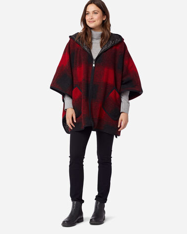 ADDITIONAL VIEW OF WOMEN'S HOODED REVERSIBLE PONCHO IN RED/BLACK BUFFALO OMBRE