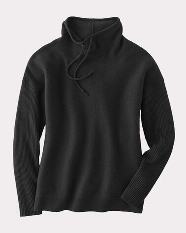 CASHMERE WEEKEND PULLOVER, BLACK, large