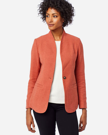 ALTERNATE VIEW OF WOMEN'S COLLARLESS ONE BUTTON BLAZER IN TERRA COTTA