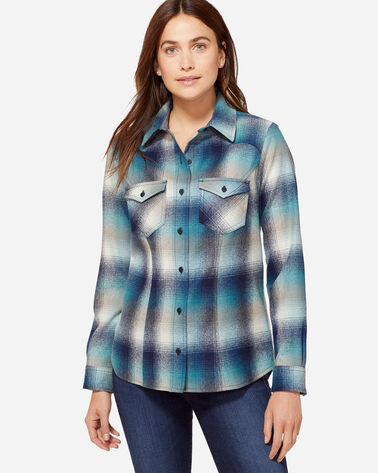 WOOL SHANIKO WESTERN SHIRT, TURQUOISE OMBRE, large