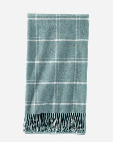 5TH AVENUE WINDOWPANE MERINO THROW IN SHALE
