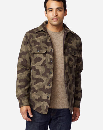 MEN'S CAMO JACQUARD QUILTED SHIRT JACKET IN CAMO