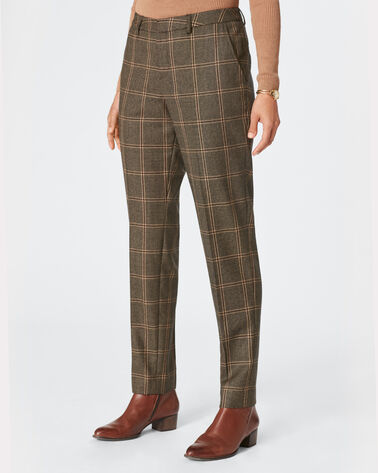 STELLA SLIM PLAID PANTS, BLACK/CAMEL WINDOWPANE, large