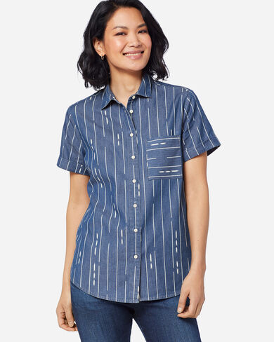 WOMEN'S ROLL SLEEVE BUTTON-UP IN BLUE/IVORY PRINT