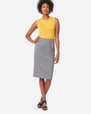 AIRLOOM MERINO TWILL PENCIL SKIRT IN BLUE HORIZON/BLCK/IVORY