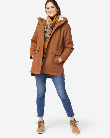 WOMEN'S FLORENCE A-LINE HOODED COAT, WHISKEY, large