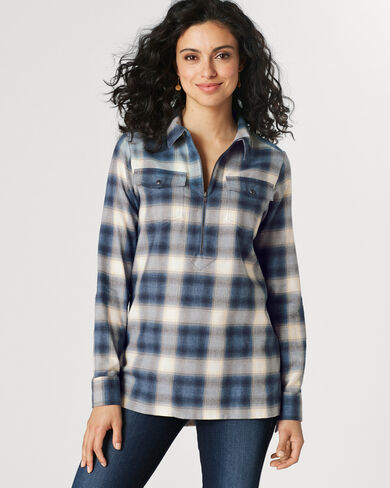 CANYON HALF-ZIP FLANNEL SHIRT, NAVY/IVORY PLAID, large